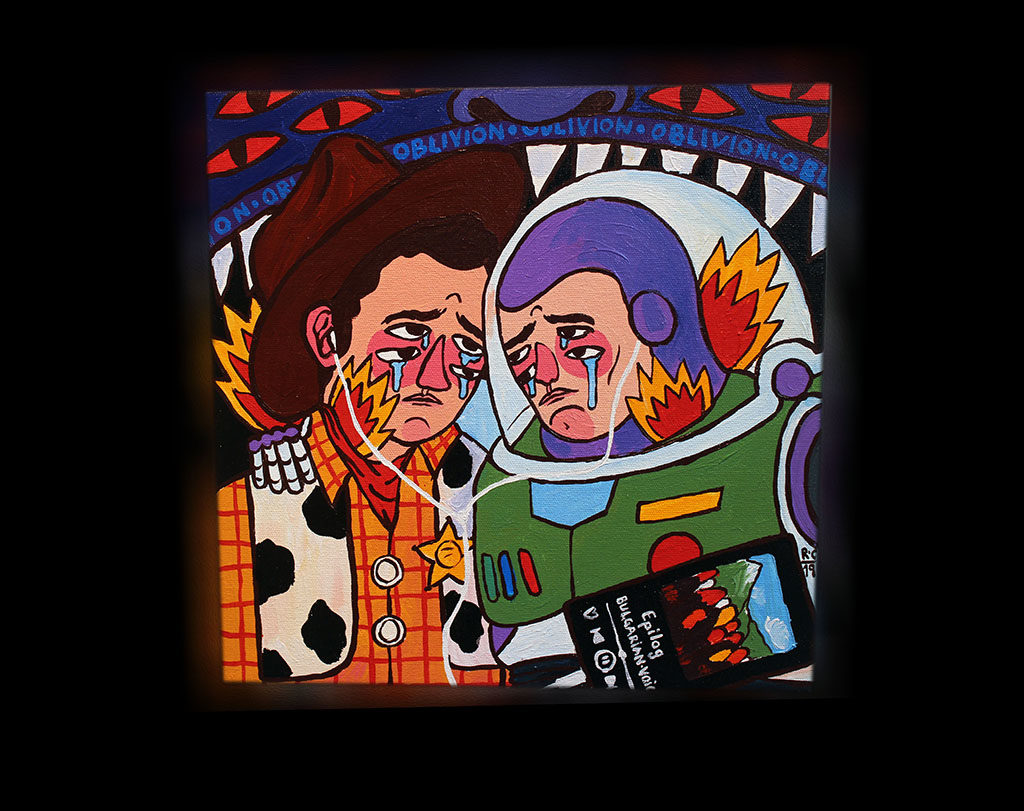 Stolen Space Gallery..>Ricardo Cavolo style is based on relationships with folk art; traditional and modern tattoo culture, European religious imagery and the tribal arts, comic and cartoons. Ricardo focuses on portraiture, stories, characters and their experiences across time, while