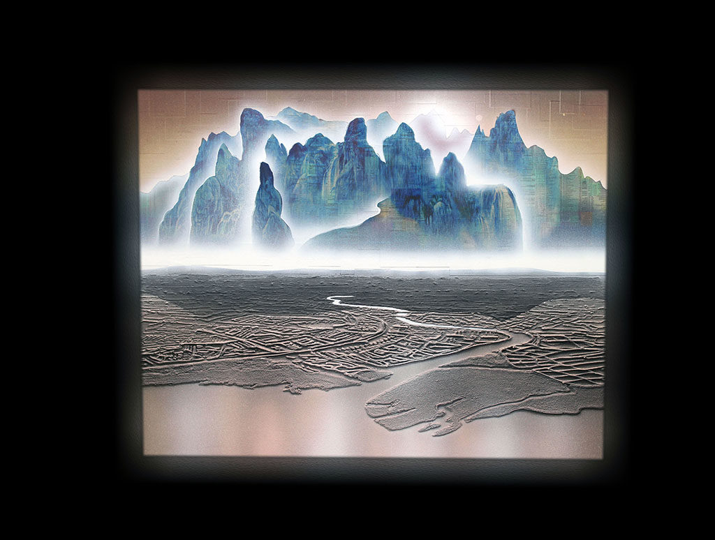Edel Assanti Gallery..>Cheung's multi-media art capture the hallucinations between the virtual and actual realities of a globalised world oscillating between Utopia and Dystopia. Spray paint, oil, acrylic, pastels, stock listings and ink collide in his works to form epic techno-sublime vistas….