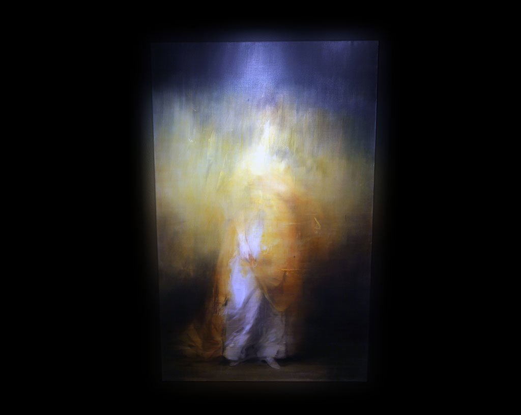 Unit London Gallery…>Jake Wood-Evans, large-scale oil paintings convey an altered atmosphere and re-appropriated view of 18th-century subjects, including portraiture, seascapes and figurative compositions.