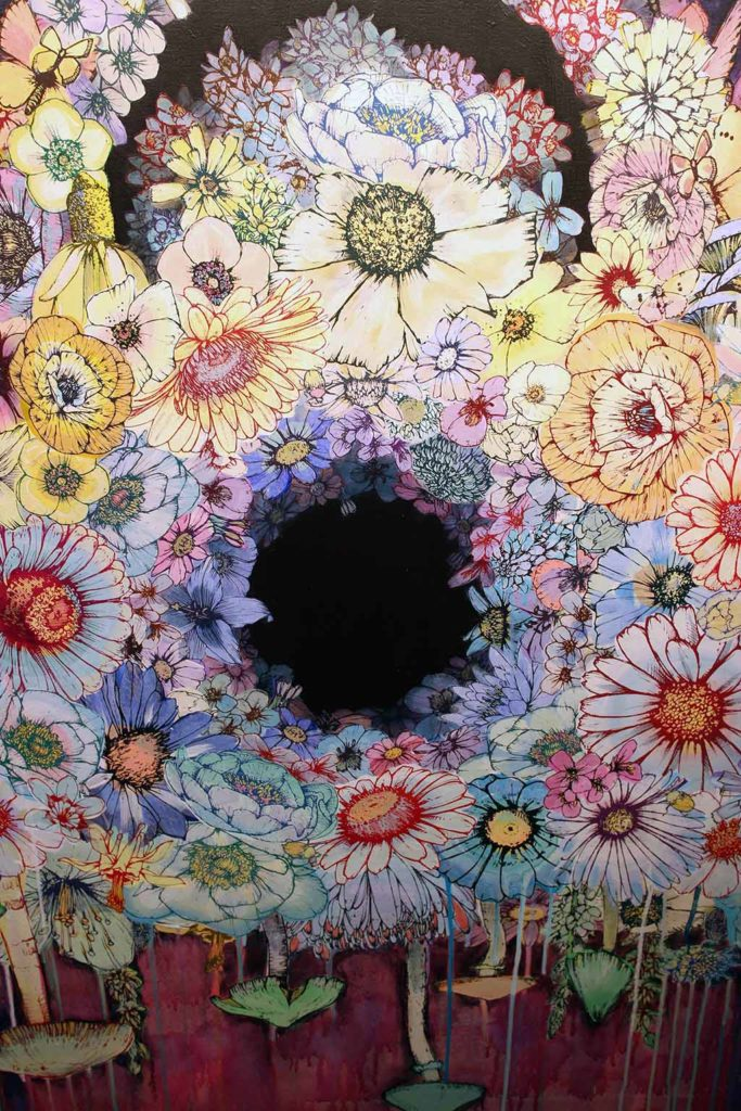 """4me4you..There are some very special pieces from Sage Vaughn's new works. Thoroughly enjoyed this. The use of flowers and fungi is an interesting mix..beautiful. There is also a mystery image within..the """"Hedgehog""""."""