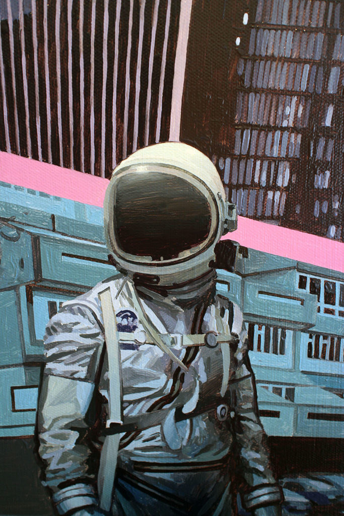 Stolen Space Gallery..>Scott has been creating these often tongue in cheek, commentary paintings since shortly before 2001, with his signature astronaut, and sometimes dinosaurs, appearing in each new vision. In this new body of work