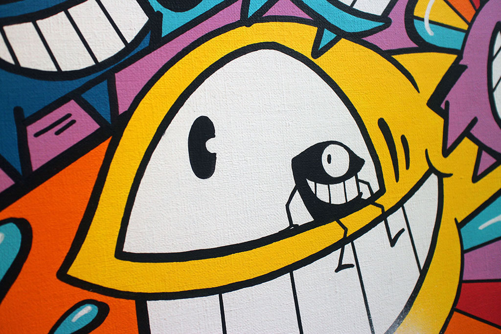 Pez is now celebrating his 20 years of painting on the streets, sharing it with his street artist friends. Collaborations on canvas and prints, with english artists, sculptures, and artwork which uses augmented reality to create a dynamic experience.